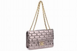 7A Replica Chanel CC Logo Lambskin Leather Flap Bags 002 Silver Grey