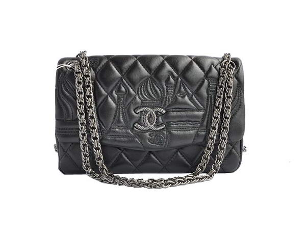 7A Replica Chanel Flap Shoulder Bag Lambskin Leather A47049 Black