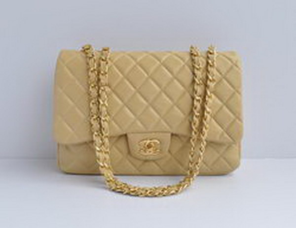 7A Replica Chanel Jumbo A28600 Apricot Lambskin Leather with Golden Hardware
