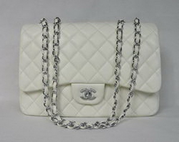7A Replica Chanel Jumbo A28600 Beige Lambskin Leather with Silver Hardware