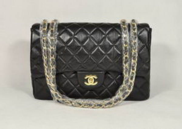 7A Replica Chanel Jumbo A28600 Black Lambskin Leather with Golden Hardware