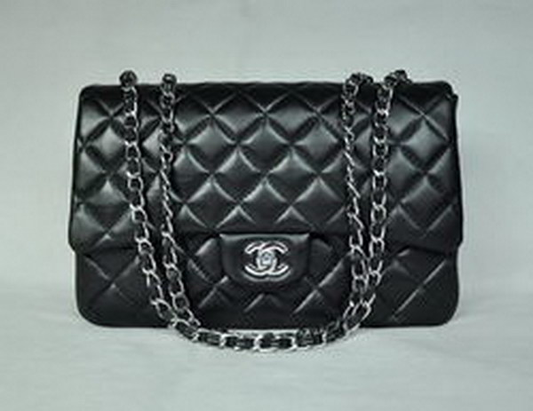 7A Replica Chanel Jumbo A28600 Black Lambskin Leather with Silver Hardware