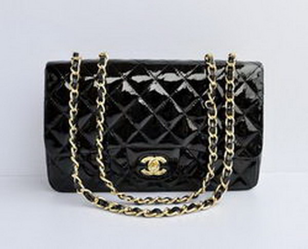 7A Replica Chanel Jumbo A28600 Black Patent Leather with Golden Hardware Flap