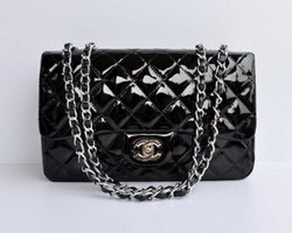 7A Replica Chanel Jumbo A28600 Black Patent Leather with Silver Hardware Flap