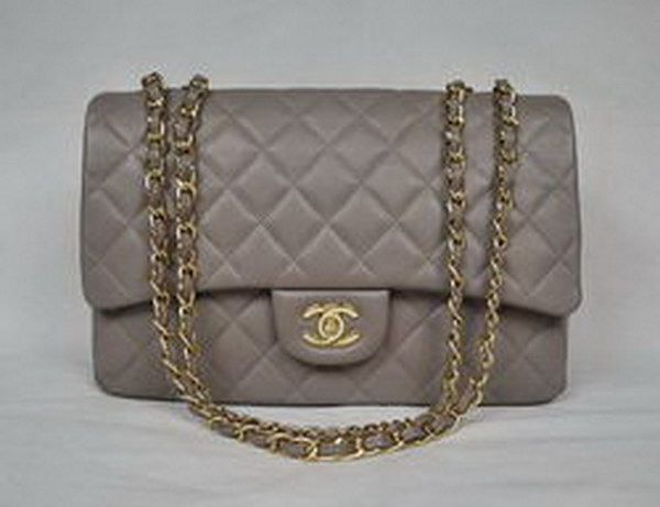 7A Replica Chanel Jumbo A28600 Gray Lambskin Leather with Golden Hardware Flap