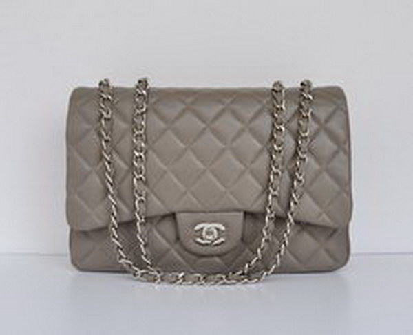 7A Replica Chanel Jumbo A28600 Gray Lambskin Leather with Silver Hardware Flap