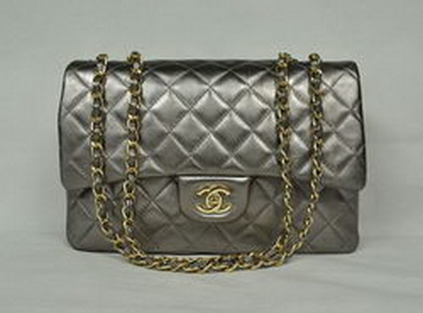 7A Replica Chanel Jumbo A28600 Iron Gray Lambskin Leather with Golden Hardware
