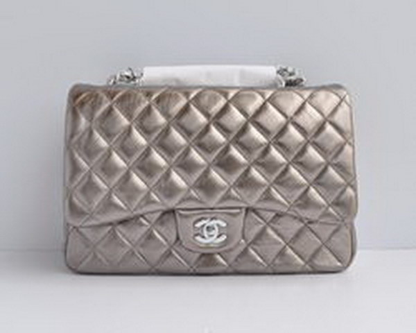 7A Replica Chanel Jumbo A28600 Iron Gray Lambskin Leather with Silver Hardware