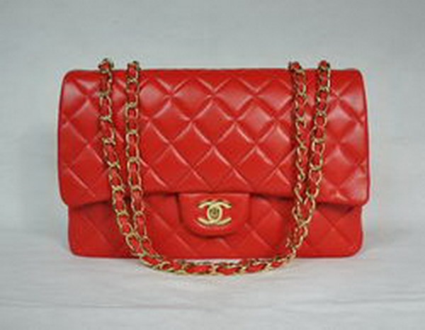 7A Replica Chanel Jumbo A28600 Red Lambskin Leather with Golden Hardware Flap