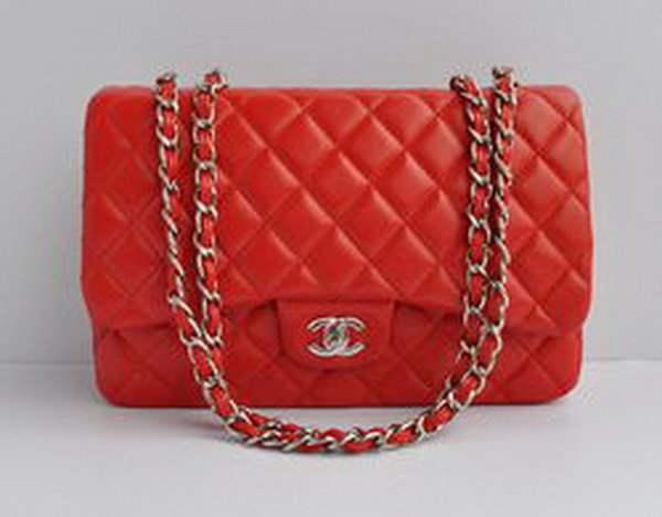7A Replica Chanel Jumbo A28600 Red Lambskin Leather with Silver Hardware Flap