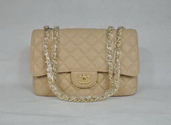 7A Replica Chanel Jumbo A28600 Apricot Caviar with Golden Hardware Flap Bag