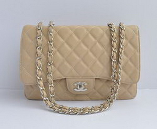 7A Replica Chanel Jumbo A28600 Apricot Caviar with Silver Hardware Flap Bag