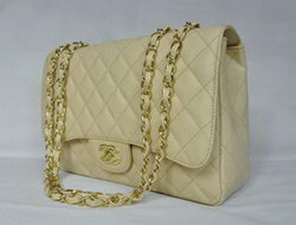 7A Replica Chanel Jumbo A28600 Beige Caviar with Golden Hardware Flap Bags