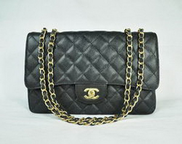 7A Replica Chanel Jumbo A28600 Black Caviar with Golden Hardware Flap Bags