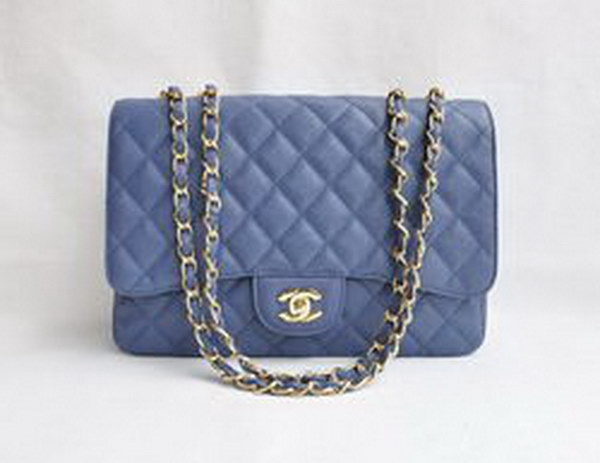 7A Replica Chanel Jumbo A28600 Light Blue Caviar with Golden Hardware Flap