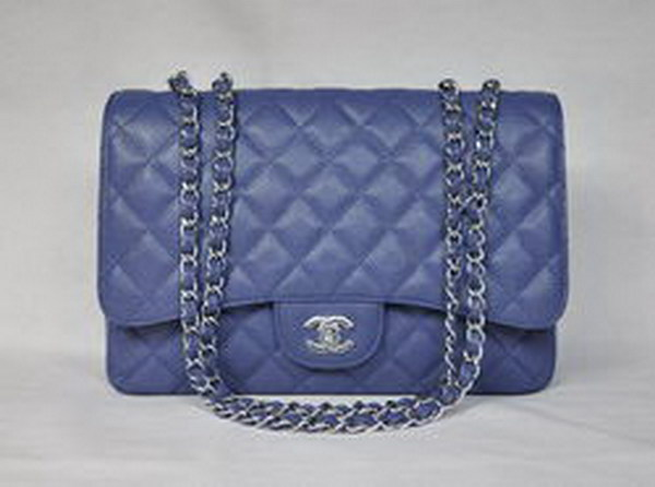 7A Replica Chanel Jumbo A28600 Light Blue Caviar with Silver Hardware Flap