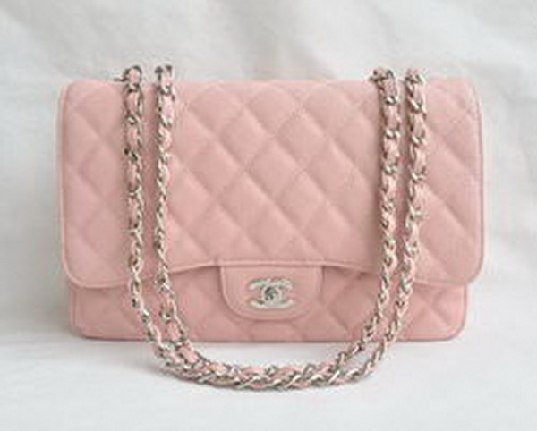 7A Replica Chanel Jumbo A28600 Pink Caviar with Silver Hardware Flap Bags
