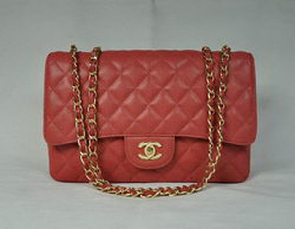 7A Replica Chanel Jumbo A28600 Red Caviar with Golden Hardware Flap Bags