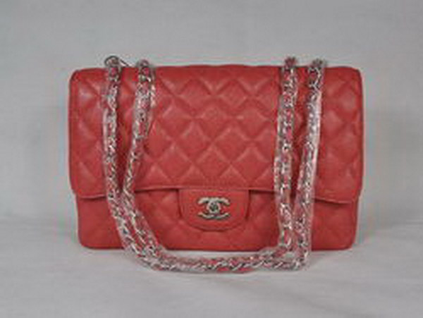 7A Replica Chanel Jumbo A28600 Red Caviar with Silver Hardware Flap Bags