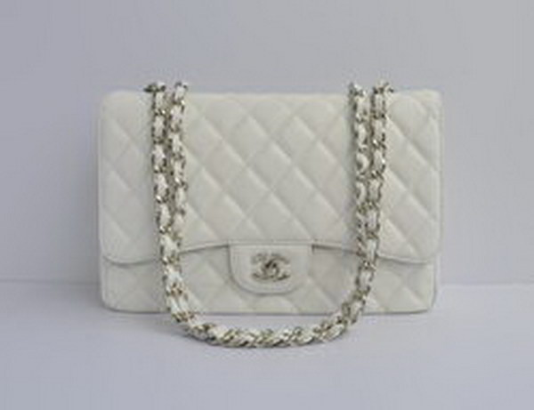 7A Replica Chanel Jumbo A28600 White Caviar with Silver Hardware Flap Bags