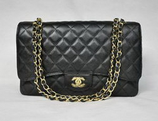 7A Replica Chanel Maxi Black Caviar Leather with Golden Hardware Flap Bags