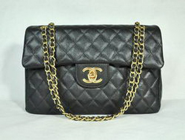 7A Replica Chanel Maxi Black Caviar Leather Flap Bags 46558 Golden Hardware