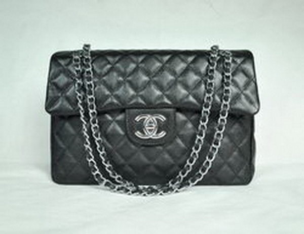 7A Replica Chanel Maxi Black Caviar Leather with Silver Hardware Flap Bags