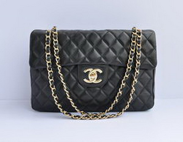 7A Replica Chanel Maxi Black Lambskin Leather with Golden Hardware Flap Bag