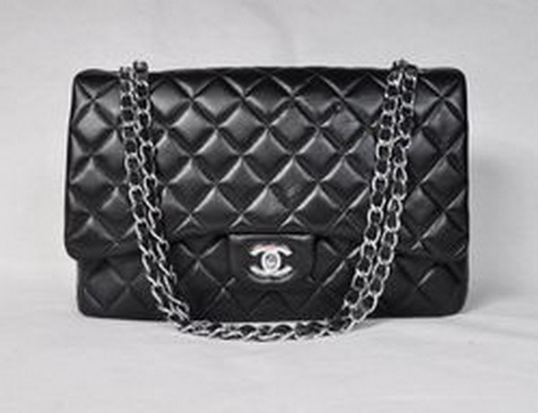 7A Replica Chanel Maxi Black Lambskin Leather with Silver Hardware Flap Bag