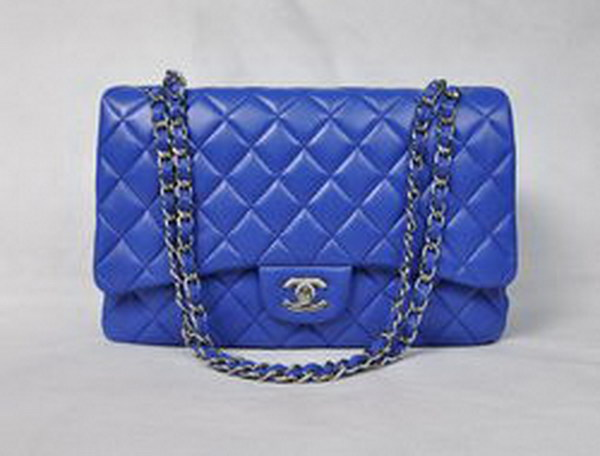 7A Replica Chanel Maxi Blue Lambskin Leather with Silver Hardware Flap Bags