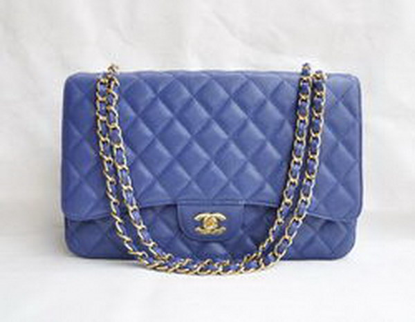 7A Replica Chanel Maxi Deep Blue Caviar Leather with Golden Hardware Flap Bag