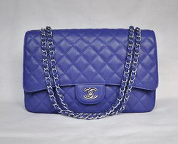 7A Replica Chanel Maxi Deep Blue Caviar Leather with Silver Hardware Flap Bag