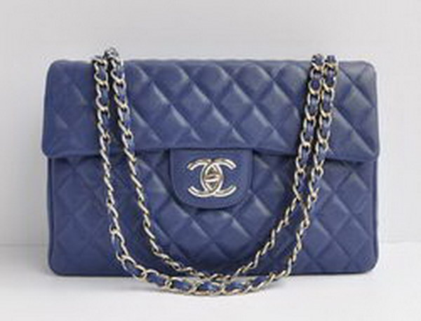 7A Replica Chanel Maxi Caviar Flap Bag 46558 Deep Blue Leather Silver Hardware