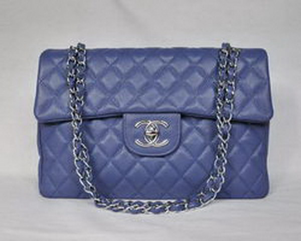 7A Replica Chanel Maxi Light Blue Caviar Leather Flap Bag 46558 Silver Hardware