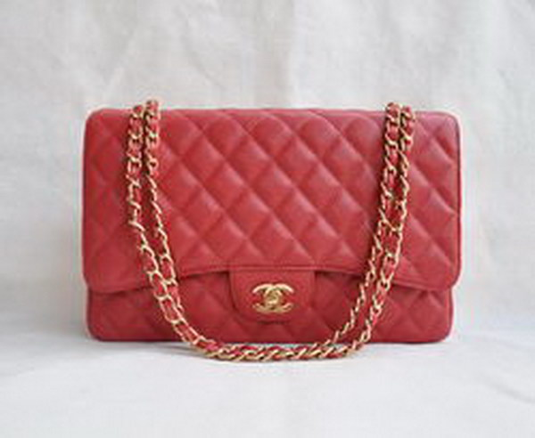 7A Replica Chanel Maxi Red Caviar Leather with Golden Hardware Flap Bags 28601
