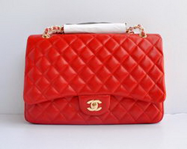 7A Replica Chanel Maxi Red Lambskin Leather with Golden Hardware Flap Bags