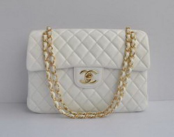 7A Replica Chanel Maxi White Lambskin Leather with Golden Hardware Flap Bag