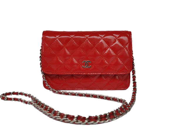 7A Replica Cheap Chanel Mini Flap Bag A33814 Red Patent Silver Hardware