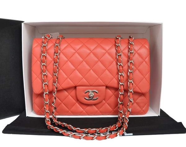 7A Replica Chanel Original Leather Flap Bag A28600 Light Red