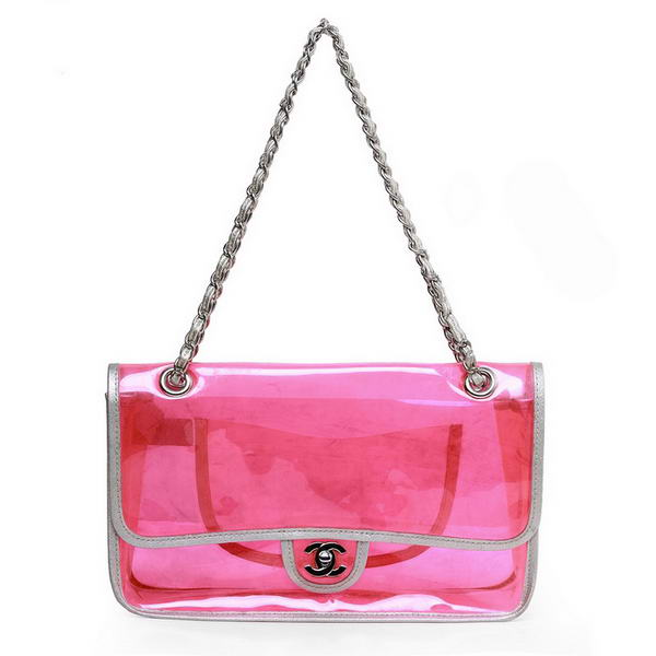 7A Replica Top Quality Chanel Pellucidly PVC Flap Bags A1117 Red