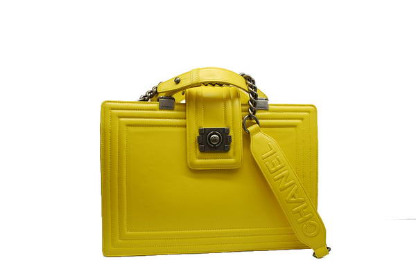 7A Chanel A30160 Yellow Calfskin Large Le Boy Shoulder Bag Silver Hardware Online