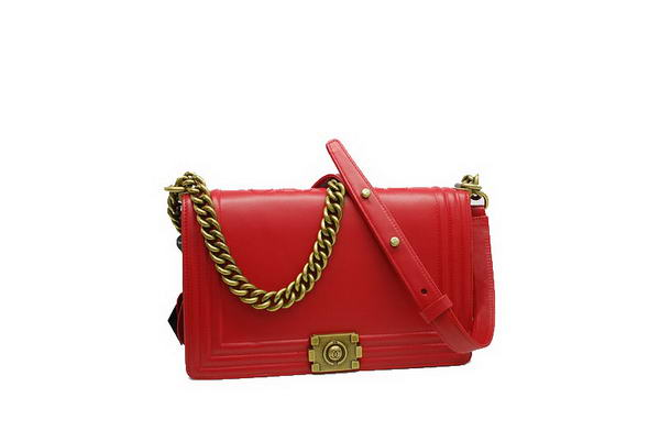 7A Fashion Chanel A30259 Red Leather Le Boy Flap Shoulder Bag Golden Hardware Online