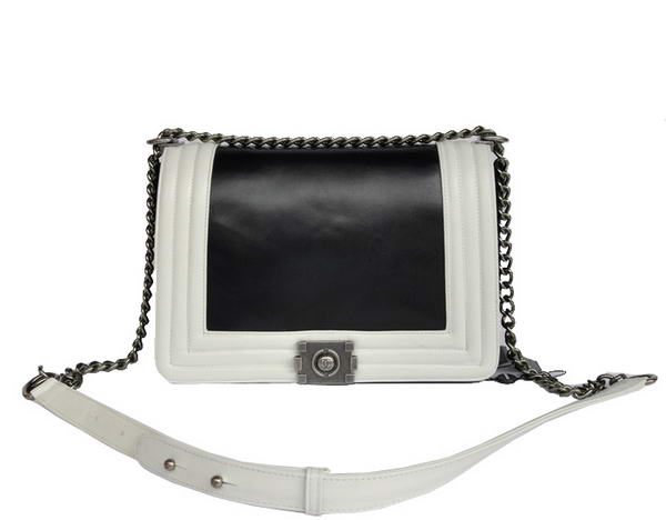 7A Fashion Chanel A50156 Black with White Le Boy Flap Shoulder Bag Online