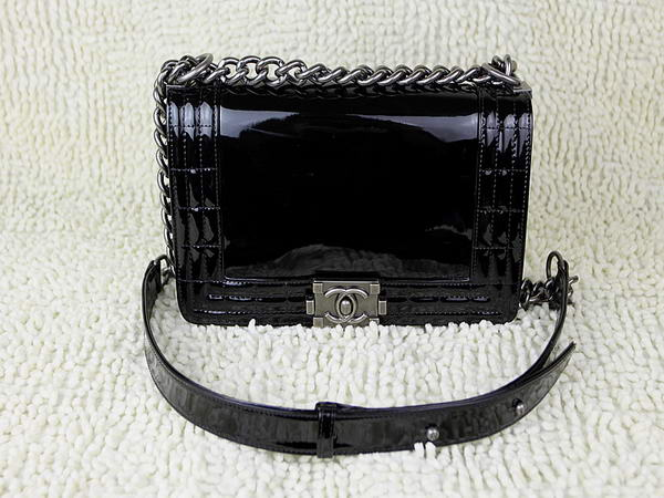 7A Hot Sell Chanel A60178 Le Boy Flap Shoulder Bag In Black Patent Leather Online