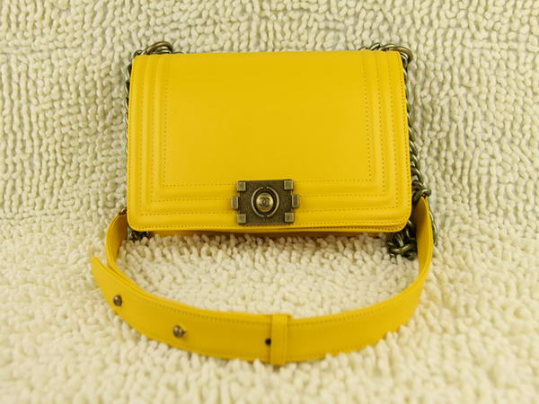 7A Chanel A66713 Le Boy Flap Shoulder Bag In Glazed Calfskin Yellow Online