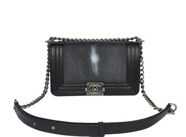 7A Chanel A67064 Black Grain Leather Le Boy Flap Shoulder Bag Online