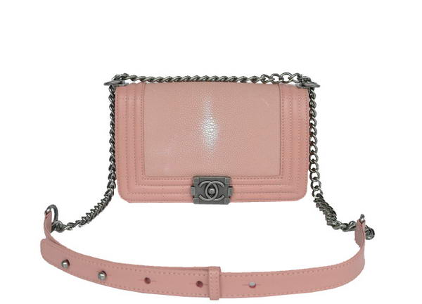 7A Chanel A67064 Pink Grain Leather Le Boy Flap Shoulder Bag Online