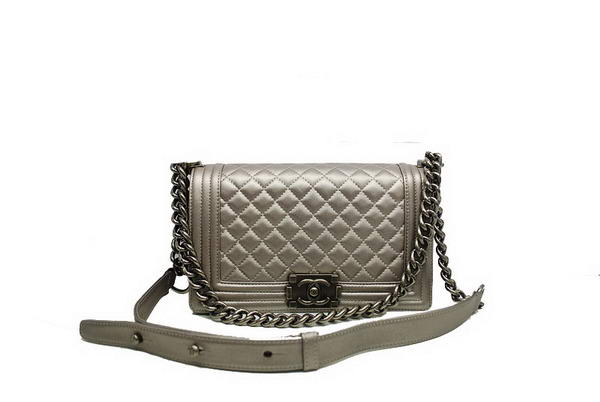 7A Chanel Boy Flap Shoulder Bag A30172 Grey Sheepskin Leather Online