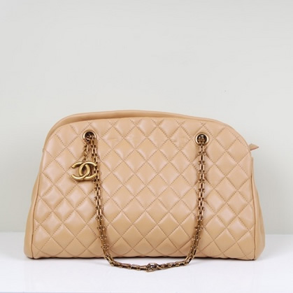 Best Chanel lambskin leather shoulder bags 49854 Beige On Sale