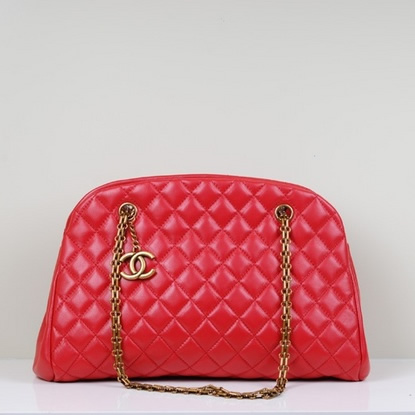 Best Chanel lambskin leather shoulder bags 49854 Red On Sale